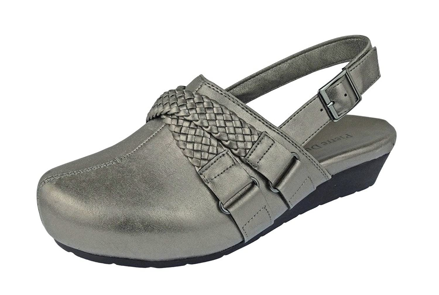 Pierre Dumas Women's Lexy-3 Vegan Leather Braided Accents Adjustable Strap Clogs