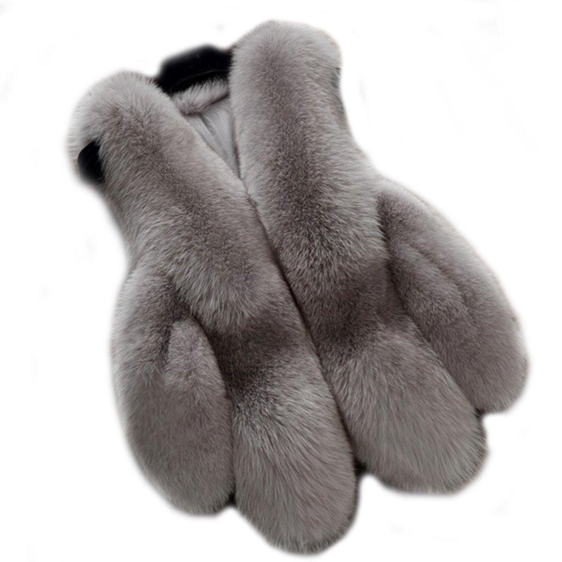 Women's Gilet Outwear Coat Faux Fur Vest Waistcoat Winter Fur Jacket