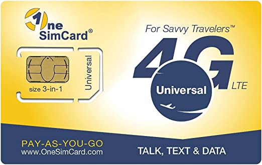 OneSimCard Universal 3-in-one SIM Card for use in Over 200 Countries with $5 Credit – Voice, Text and Mobile Data as Low as $0.01 per MB. Compatible ...