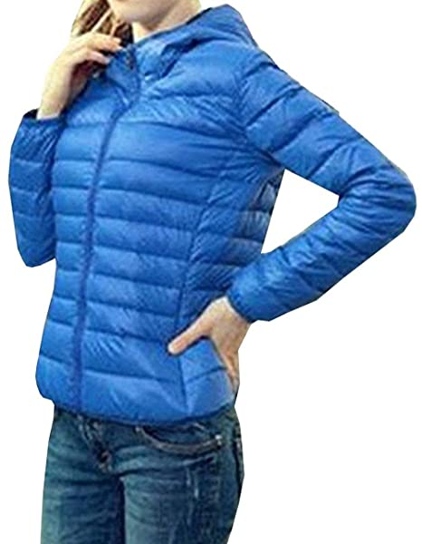 Plumas Mujer Manga Larga Slim Fit Encapuchado Pluma Otoño Invierno Fashion Basic Ocasional Ultraligero Empacable Chaqueta De Temporada Corto Abrigos Ropa: ...