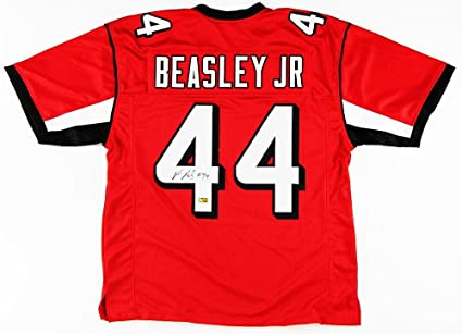hot sale online 03d64 84704 Vic Beasley Signed Jersey - Custom Red - Autographed NFL ...
