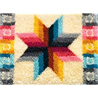 """Candamar Designs Quilted Star Latch Hook Needlepoint Rug Kit, 27 x 20"""""""