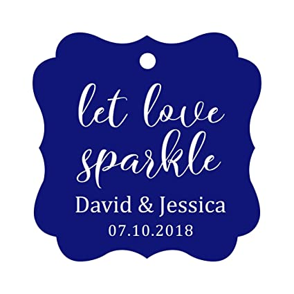 39b153b6f3ef Darling Souvenir Personalized Fancy Frame Paper Tags Wedding Sparklers Let  Love Sparkle Custom Hang Tags-Blue-100 Tags