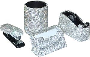 Bling Bling Crystal Luxury Handmade Diamond Pencil Pen Pot Holder & Stapler & Card Holder & Desktop Tape Dispenser for Fashion Girls Women