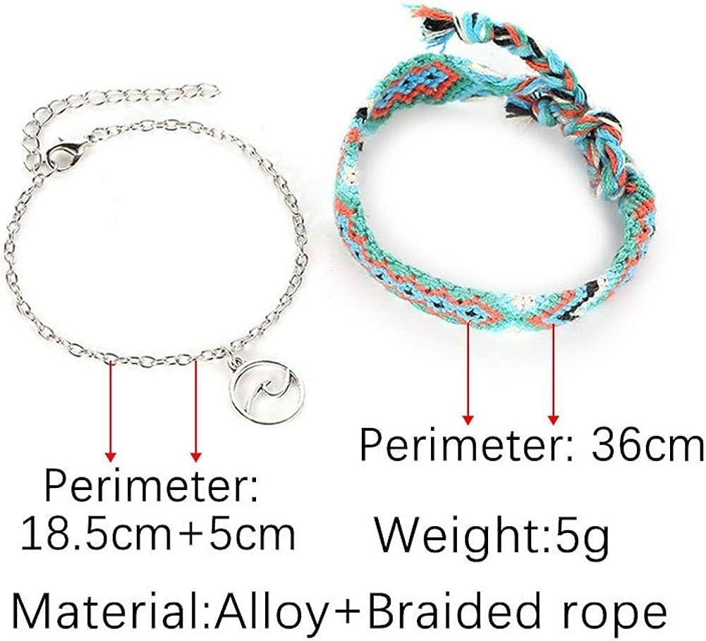 Yantu 2PCS//Pack Lucky Handmade Boho Beach Sliver Charm Anklet for Women Jewelry Foot Chain Gift