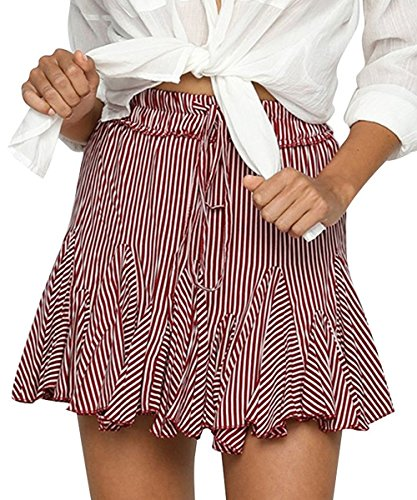VNOOK Women Casual Striped Pleated Drawstring High Waisted Flared Skater Mini Skirt