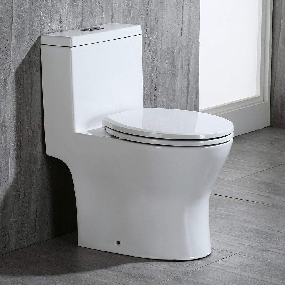 WOODBRIDGE B-0050 T-0031/B0500 T-0031 Short Compact Tiny One Piece Soft Closing Seat, Toilet for Small Bathroom, white by Woodbridge