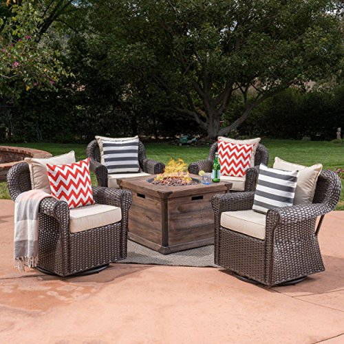 Great Deal Furniture Parker Outdoor 5 Piece Wicker Swivel Club Chair with Aluminum Frame and Fire Pit Set, Dark Brown with Beige and Brown Aluminum 5 Piece Club Chair
