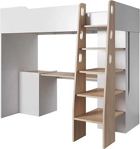 E Meubles Lit Mezzanine Pour Couchage 90x200 Cm 1 Place 1 Personne Chambre D Enfant Blanc Habo A