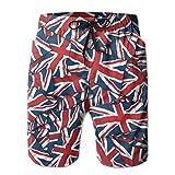 confirm vt Men's British Flag Repeat Quick Dry Summer Beach Surfing Board Shorts Swim Trunks Cargo Shorts