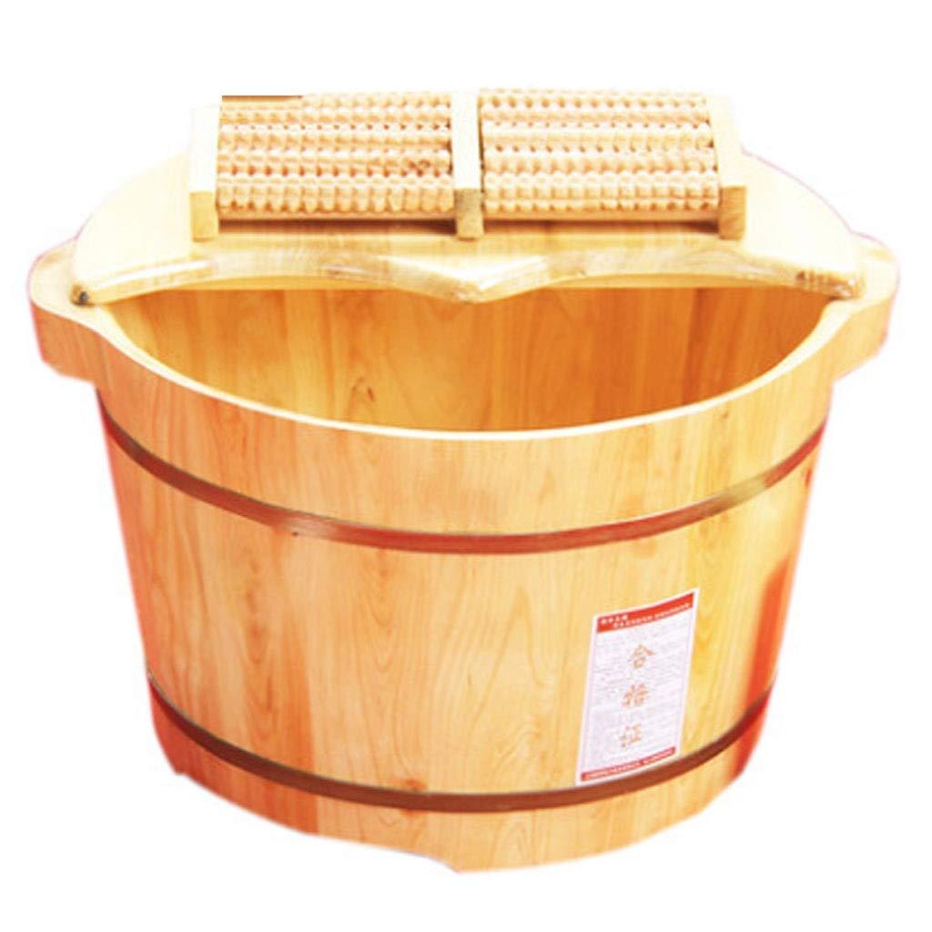 マッサージクッション フットバスバレル シーダーバレル 26 cmフットバスバレル カバーフットバレル 5列のマッサージビーズ+フォームフットパウダーの健康 睡眠 ギフトの向上 (Color : Wood color, Size : 37x26cm) B07TYNTWQN Wood color 37x26cm