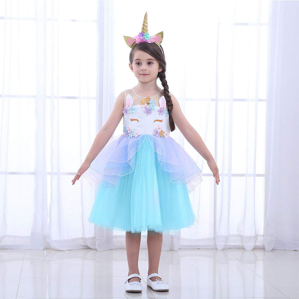 Ragazzine Unicorn Vestiti URAQT Ruffles Fiori Festa Cosplay Abito da Sposa Carnevale Ballo Abito Festa di Compleanno Vestito della Principessa per Bambine.