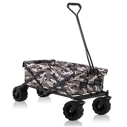 SAMAX Carrito de Offroad a Mano Plegable Coaster Carretillas de Jardín Playa de Carro - Camouflage