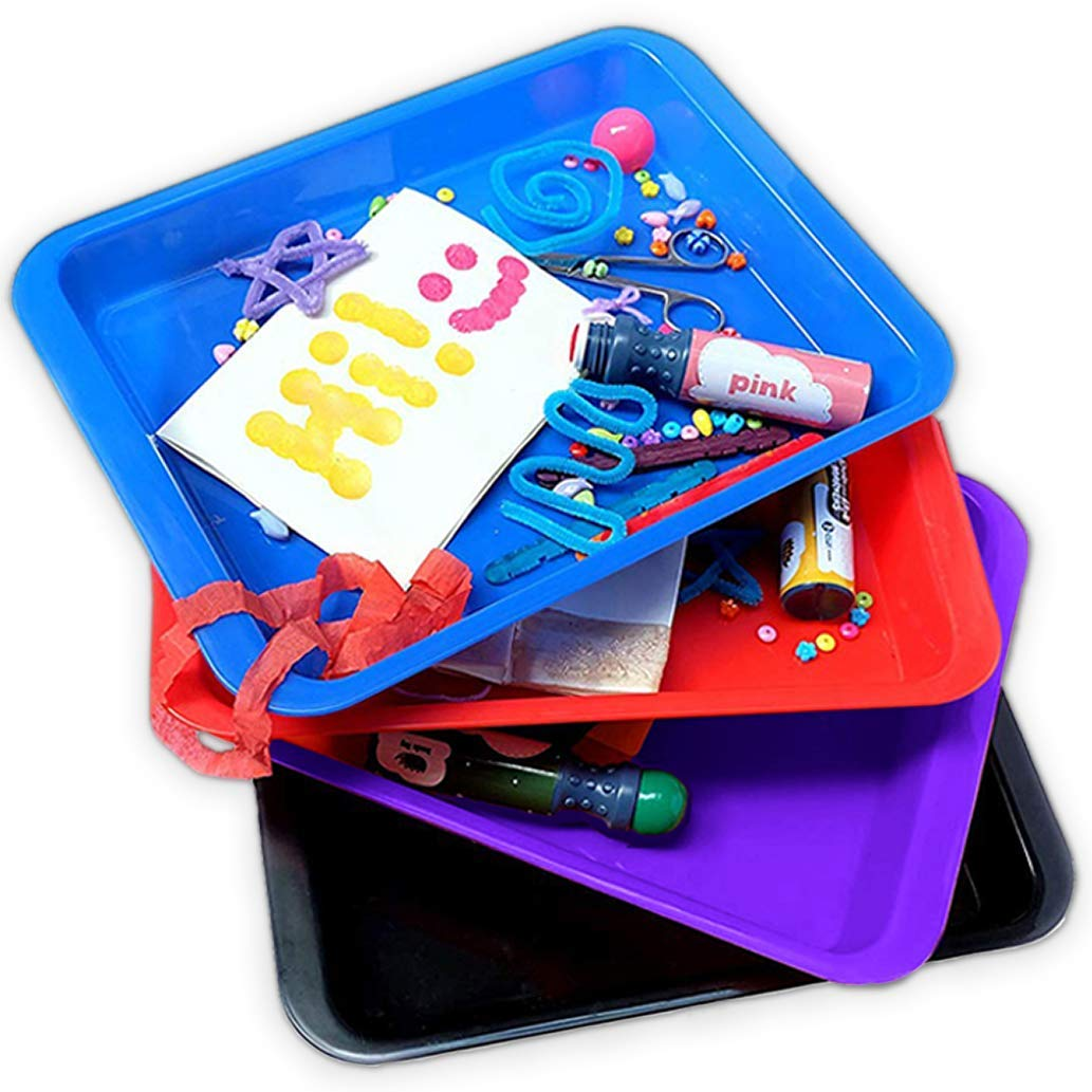 Activity Plastic Tray - Art + Crafts Organizer Tray, Serving Tray, Great for Crafts, Beads, Orbeez Water Beads, Painting (Set of 4 Colors - Red, Blue, Purple, Black) by Dab and Dot Markers