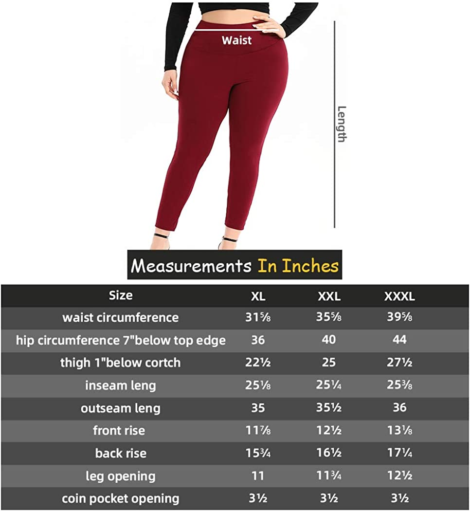 URBAN AFFAIR Womens Plus Size Leggings High Waisted Stretch Pants for Women with Hidden Inner Pocket