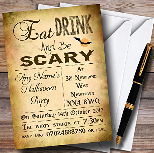 Eat Drink Be Scary Personalized Halloween Party Invitations -