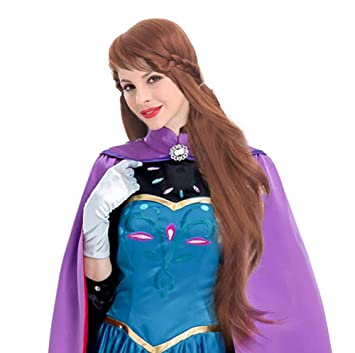Amazon.com: Princesa Anna peluca Elsa Cosplay vestido marrón ...