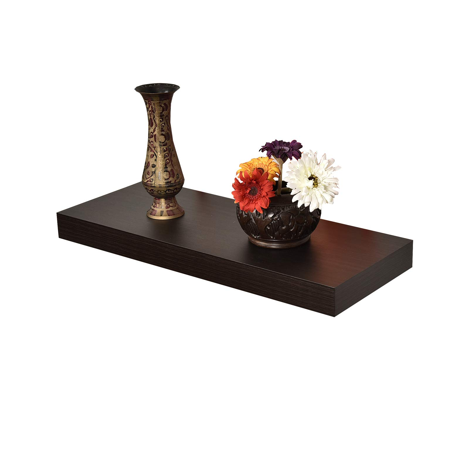 WELLAND 2'' Thickness Mission Floating Wall Shelf,approx 24-inch Length, Espresso