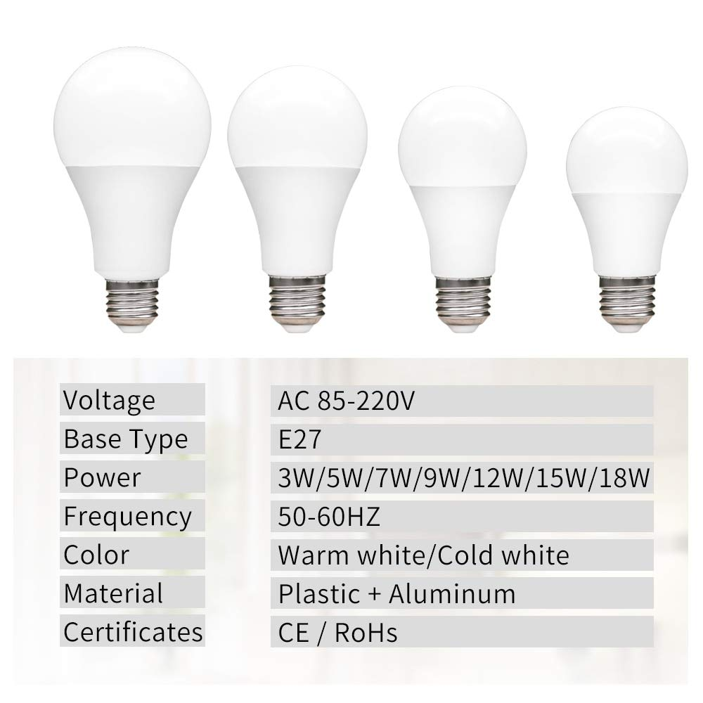 Amazon.com: StrongSK LED Bulbs & Tubes - Bulb E27 220V 85-265V 110V Light Bulb Real Power 3W 5W 7W 9W 12W 15W 18W Lampada LED Lamp High Brightness Lampara ...