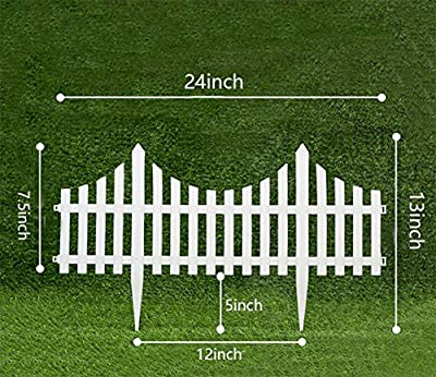 V Protek 4Pack Garden Patio Decorative Plastic Edging Fence White Flexible 24''13''