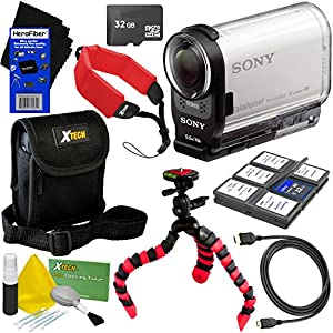 Sony HDR-AS200V Full HD Action Cam with Wi-Fi, NFC, GPS & Ultra-Wide 170° Lens + 8pc Bundle 32GB Accessory Kit w/ HeroFiber Ultra Gentle Cleaning Cloth
