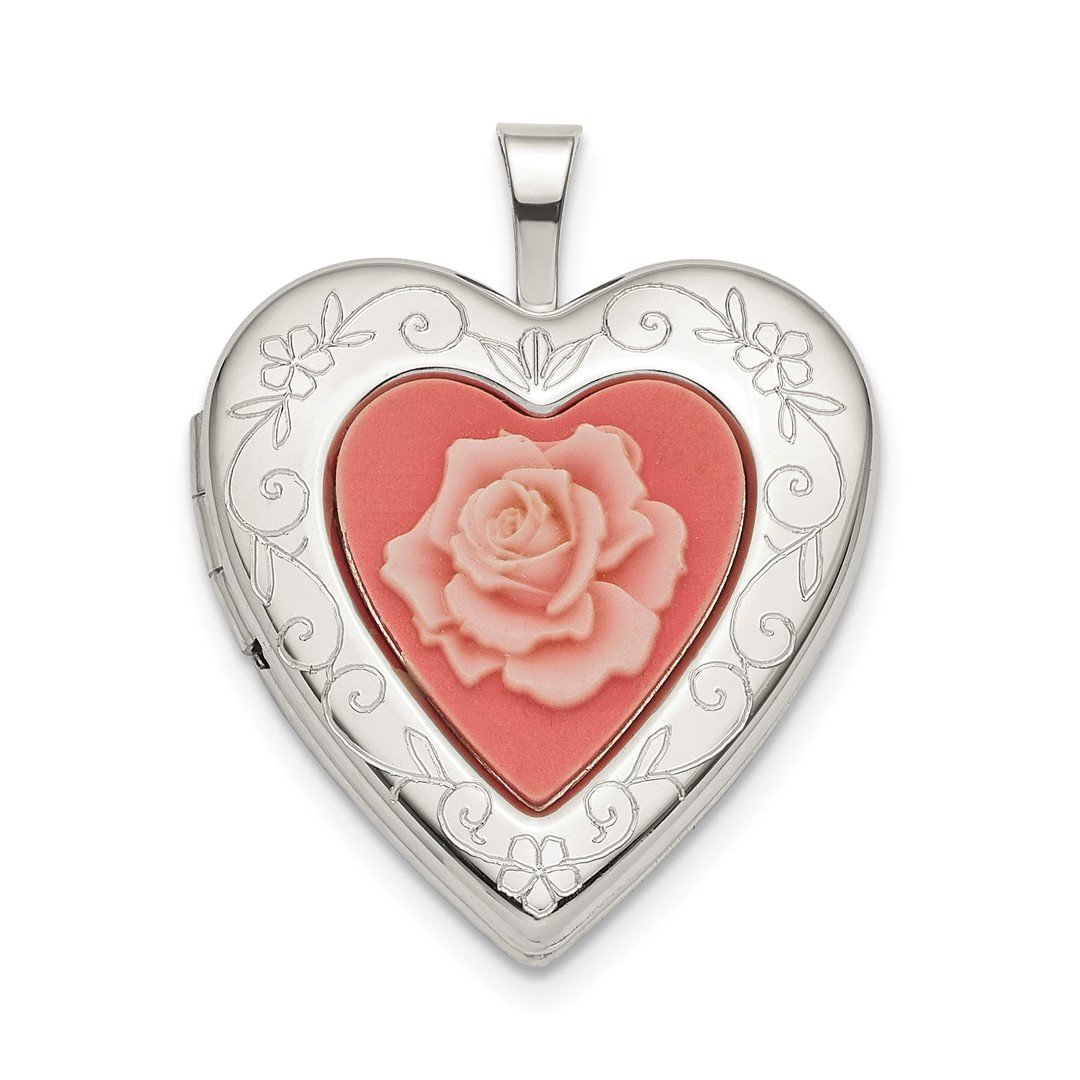 ICE CARATS 925 Sterling Silver 20mm Pink Resin Rose Cameo Heart Photo Pendant Charm Locket Chain Necklace That Holds Pictures Fine Jewelry Ideal Gifts For Women Gift Set From Heart by ICE CARATS (Image #1)