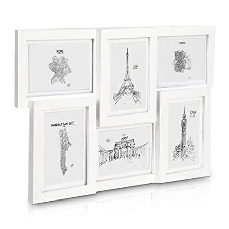 Classic by Casa Chic Solid Wood White Collage Frame Holds Six 7x5 ...
