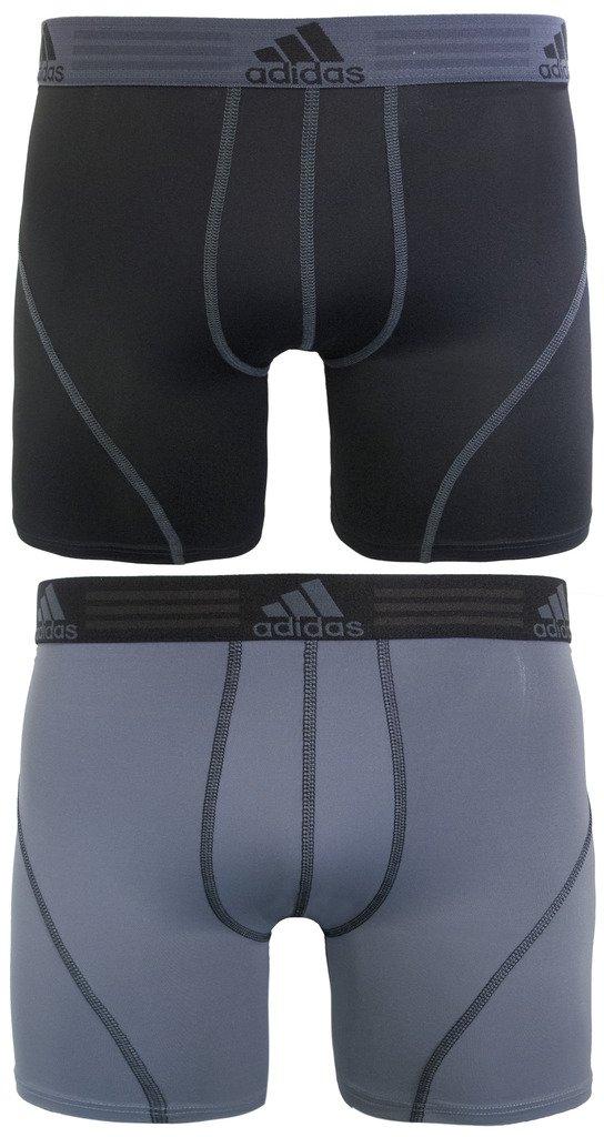 adidas Men's Sport Performance Climalite Boxer Brief Underwear (2 Pack), Black/Thunder Grey, Medium/Waist Size 32-34