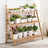 Flower Racks Bamboo Color Big Capacity Bamboo Flower Racks Indoor And Outdoor Multiple Layers Foldable Flower Pot Rack (Four Sizes Optional) ( Size : 50cm )
