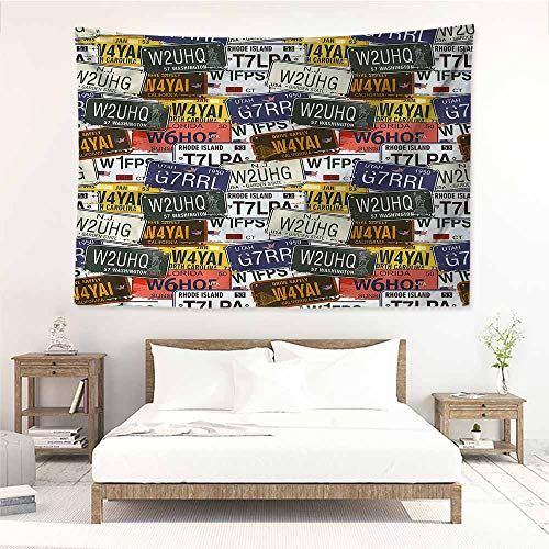 (Sunnyhome Bedroom Tapestry,USA Retro Auto License Plates,Stylish Minimalist Fresh Style,W80x60L)