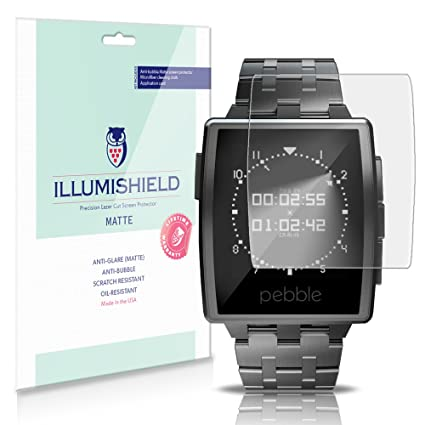 iLLumiShield Matte Screen Protector Compatible with Pebble Steel Smartwatch (3-Pack) Anti-Glare Shield Anti-Bubble and Anti-Fingerprint PET Film