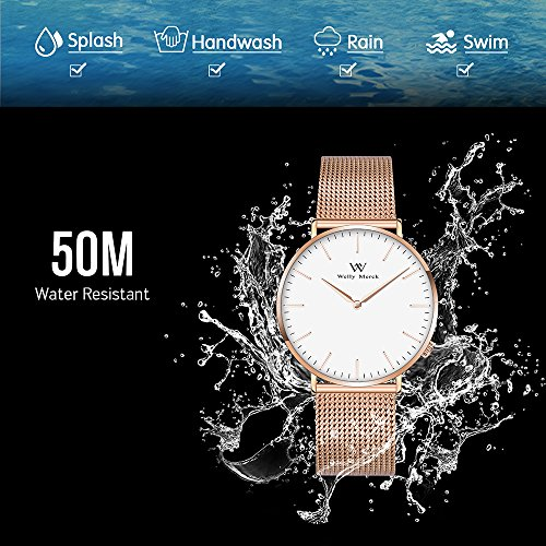 Welly Merck Swiss Movement Sapphire Crystal Women Luxury Watch Minimalist Ultra Thin Slim Analog Wrist Watch 18mm Rose Gold Stainless Steel Mesh Band in White 36mm 164ft Water Resistant by WM WELLY MERCK (Image #4)