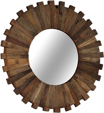 ROMELAREU Espejo de Pared Madera Maciza de traviesas del Tren 50 cmCasa y jardín Decoración Espejos: Amazon.es: Hogar