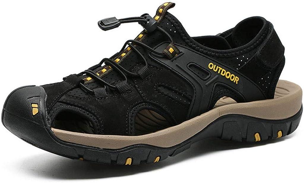 Schwarz 41 EU ZCP Herren Sandalen, Atmungsaktiv, rutschfeste Geschlossene Zehen-Outdoor-Wanderschuhe