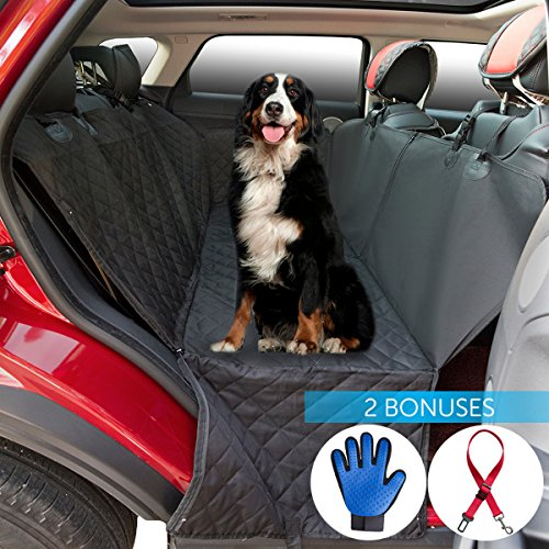 hot sale 2017 2ME Pet Seat Cover Dog Seat Cover Car Seat Cover for Most US Cars – Luxury Waterproof, Scratch Proof, Nonslip Backing & Hammock Function, Amazing Bonuses – One Pet Grooming Glove & One Dog Seat Belt
