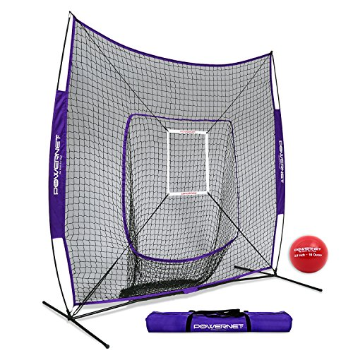 PowerNet DLX 7x7 Baseball Softball Hitting Net + Weighted Heavy Ball + Strike Zone Bundle (Purple) | Training Set | Practice Equipment Batting Soft Toss Pitching | Team Color | Portable Backstop