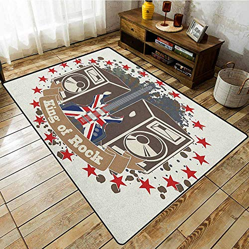 (Living Room Rug,Popstar Party,King Rock Label with Speakers Stars and Electric Guitar with British Flag,with No-Slip Backing Multicolor)