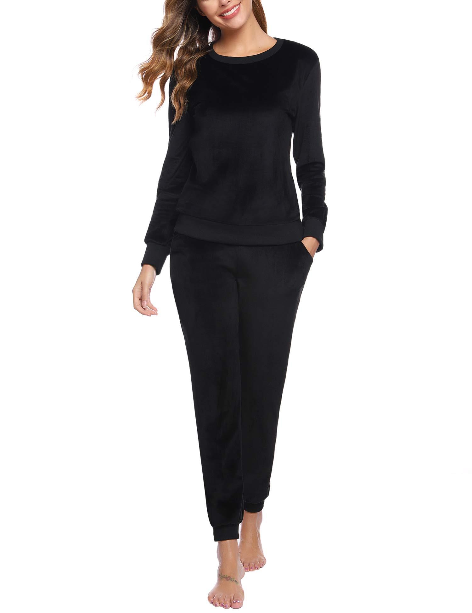 Abollria Women's 2 Piece Outfits - Sweatsuits Long Sleeve Pullover Sweatshirt Long Pants Tracksuit Set Black by Abollria