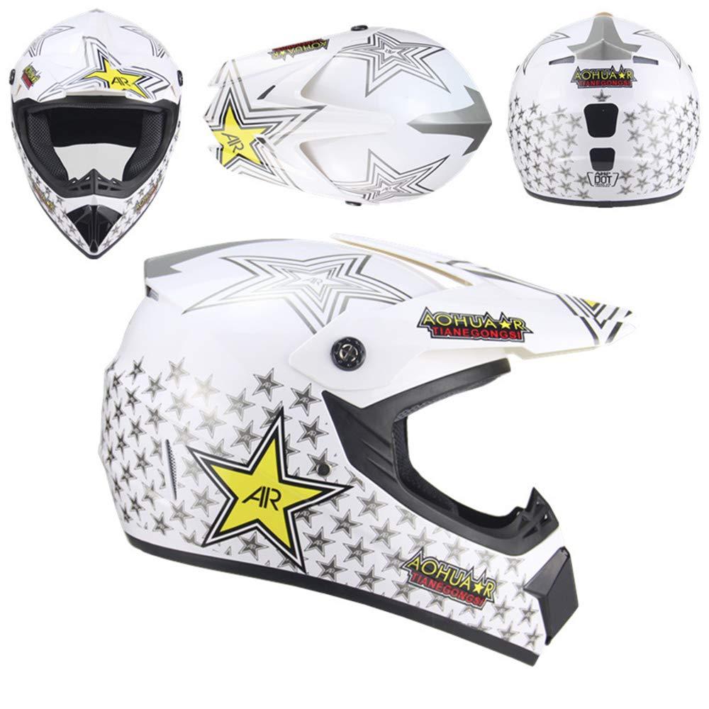 PKFG/® AO-262 Adult Motocross Helmet Full Face Safety Cap Flip Up Helmets Motorbike Helmet for Boy Girls Off-Road Enduro Motorcycle Helmet with Gloves Mask Glasses,S52~55CM