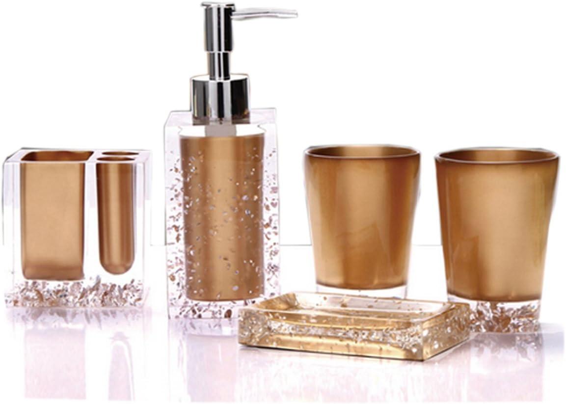 Gold Yiyida Luxus-Acryl 5 tlg Badezimmer Set Bad Accessoire Set WC Set