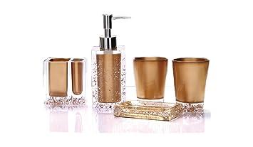 Yiyida Luxus Acryl 5 Tlg Badezimmer Set Bad Accessoire Set Wc Set Gold