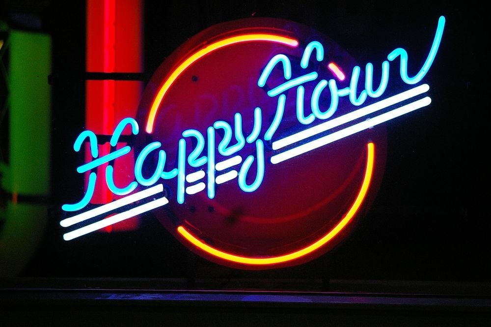 Urby™ 24''x20'' Happy Hour Custom Handmade Glass Tube Neon Light Sign 3-Year Warranty-Unique Artwork! U200