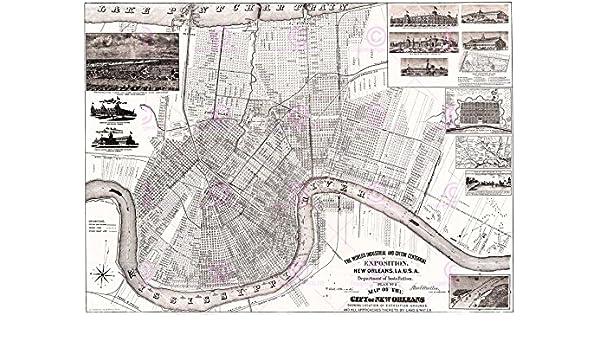 MAP ANTIQUE 1884 SLC NEW ORLEANS WORLD/'S FAIR EXPO VENUES REPLICA PRINT PAM1965
