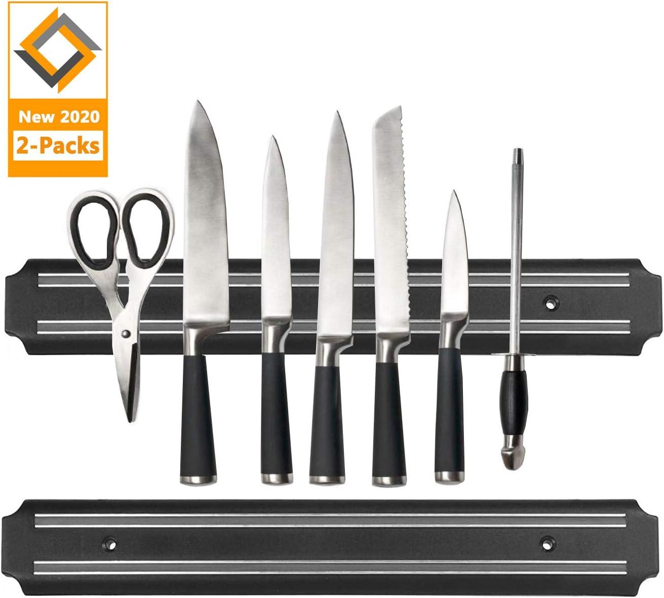 Magnetic Knife Strips, 15 Inch Magnetic Knife Storage Strip, Knife Holder, Knife Bar Block Magnet, Kitchen Utensil Holder, Tool Holder, Multipurpose Magnetic Knife Rack (2 Pack)