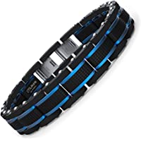 COOLMAN Jewellery Mens Bracelets Stainless Steel Blue&Black Adjustable 7.5-9 Inch (Gift Box)