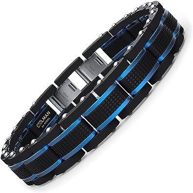 COOLMAN Joyas para Hombre Pulseras Acero Inoxidable Azul & Negro Ajustable 21,5-23cm (con Cierre de Caja de Regalo): Amazon.es: Joyería