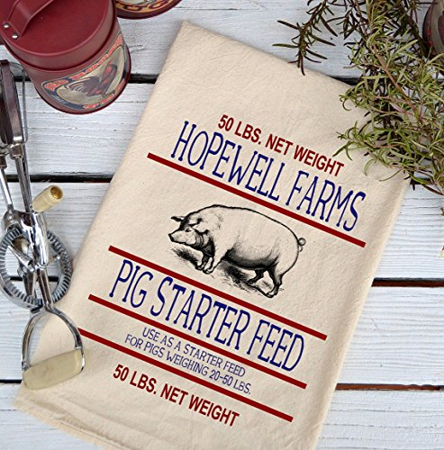 Farmhouse Natural Flour Sack Hopewell Farms Starter Feed Country Kitchen Towel