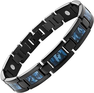 Willis JUDD para hombre Negro TITANIUM pulsera magnética con camuflaje azul
