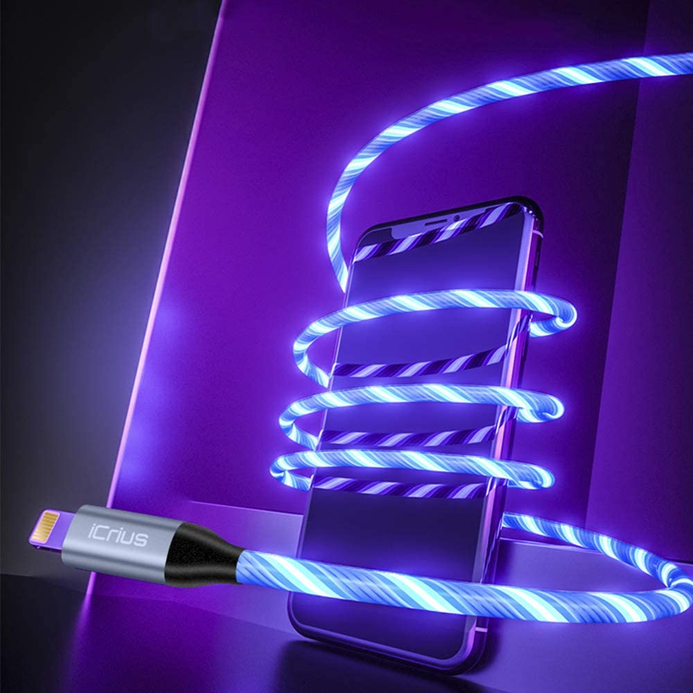 iPhone Charger Cable, Blue iCrius 6ft Led Light Up Visible Flowing Lightning Cable Charging Cord Compatible with iPhone 11 Pro Max XS XR X 8 7 Plus 6S 6 SE 5S iPad and More MFi Certified