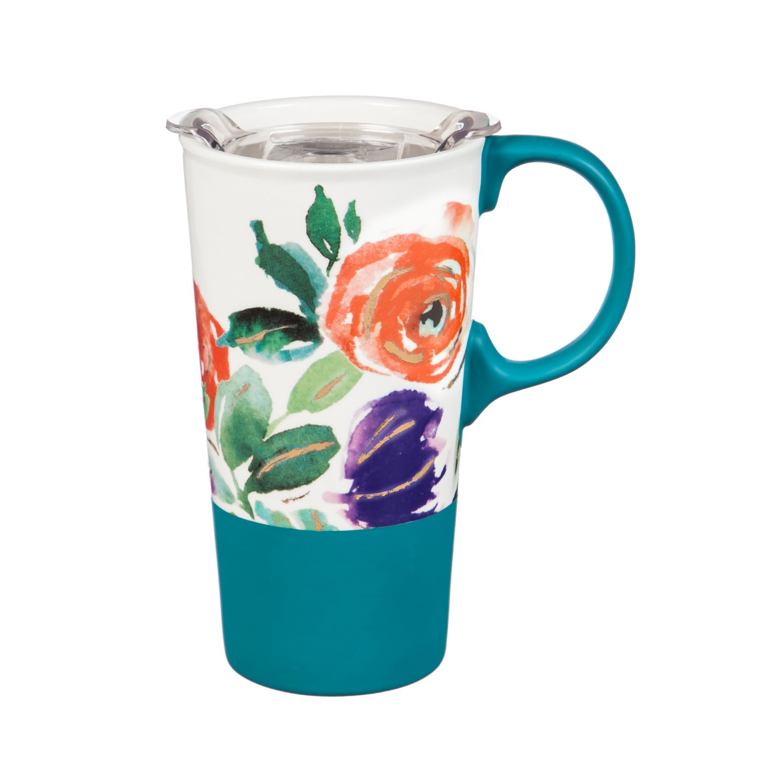 Cypress Home Purple Boho Floral Party Ceramic Travel Coffee Mug with Silicone Handle, Metallic Accents and Gift Box, 17 ounces